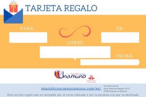 tarjeta regalo curso español