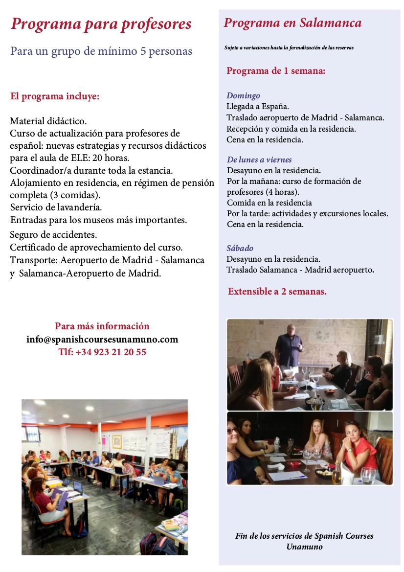Programa para profesores de español itinerario